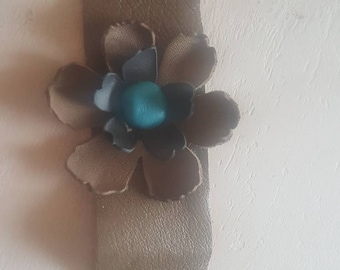 Leather Taupe and Turquoise Boho Floral Cuff