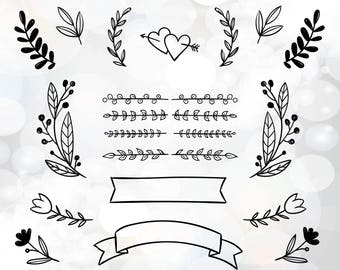 Wedding DIY invitation clipart - wedding invitation files for Cricut - laurel wreath clipart - wedding banner svg - love hearts rings svg