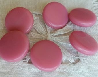 VIntage Set of 6 Glass Buttons.  Pink.  1.8 cm
