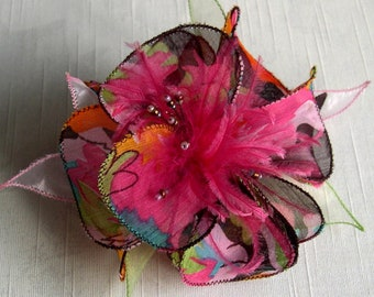 Large barrette flower fabric, organza, feathers and pearls 096