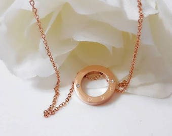Love Necklace, Circle Necklace, Love engraved necklace, Rose gold Necklace, Rose gold love necklace, rose gold circle necklace, gift ideas