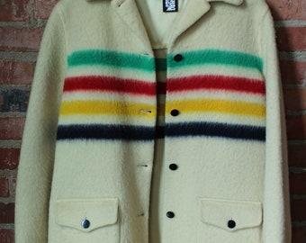 Vintage Hudson Bay Striped Blanket Coat