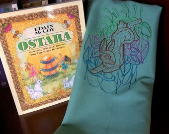 Ostara Rabbit Altar/Tarot Cloth in Dusty Aqua