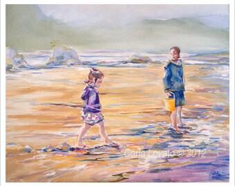 Beach Painting, children at play, Family art, Costal art, 8 x 10 Giclee print, beach decor, Oregon beach, cottage decor, Siletz Bay,