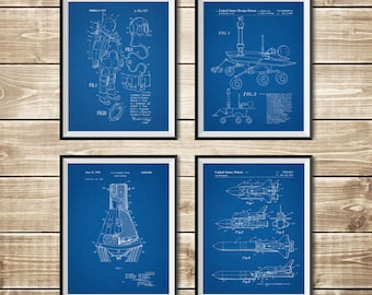 Outer Space Nursery, Patent Print Set, NASA Poster, Rocket Wall Decor, Outer Space Poster, Outer Space Patent, Nasa Decor, INSTANT DOWNLOAD