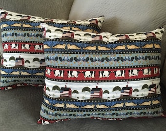 Set of 2 american throw pillows