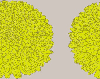 Wallpaper SAMPLE of 'Chrysanthemum Lime' in a Choice of Non-Woven, Textured or Removable Finish Size 20cm x 20cm