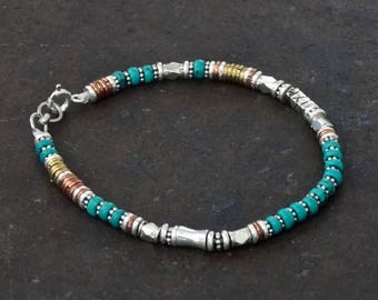 Turquoise Bracelet, Silver and Turquoise, Beaded Bracelet, Mixed Metals, Sterling Silver, Copper, Brass
