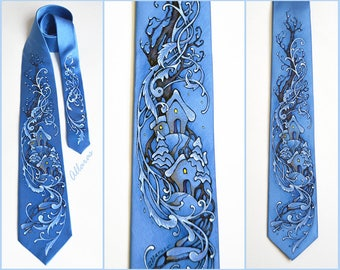 Hand Painted Blue Necktie. Winter Landscape painted Silk Tie. Silk painting Tie. Snow town Tie. Winter Tree silk tie. Christmas Tree tie