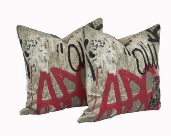 "Pair of 20"" Red Graffiti printed linen pillow covers"