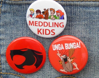 """Retro Cartoons 1.5""""  Birthday Patch Party Favors, Scooby Doo, ThunderCats, Captain Caveman Backpack Buttons, Small Gift Under 5 Button Set"""