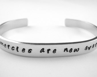 Bible verse bracelet, His mercies are new every morning Lamentations 3:23 scripture bracelet, Christian jewelry, inspirational quote