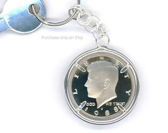 1988 Half Dollar Keychain 30th Birthday Gift 30th Anniversary Gift Sterling Silver Chain 1988 Kennedy Half Dollar Keychain