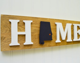"""Auburn Tigers """"State Heart"""" Home Sign - Handcrafted wood with official team colors"""