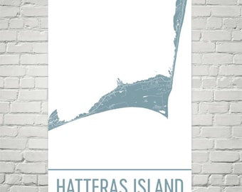 Cape Hatteras Map, Cape Hatteras Art, Hatteras Island Print, Hatteras NC Poster, Outer Banks Gifts, Map of Outer Banks, Hatteras Poster
