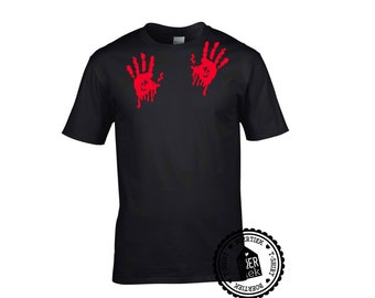Bloody hands, T-shirt, black or white, size S, M, L, XL