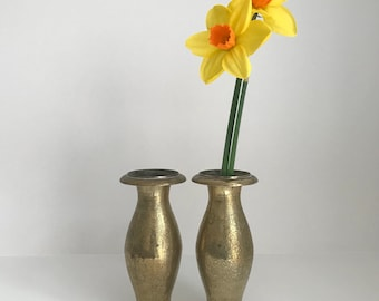 Pair of Fine Antique Brass Vases with Ornate Engravings