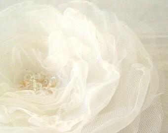 Bridal Hair Accessory XL Organza Flower Corsage Sash White Ivory Mix Weddings Bridal Hair Accessories Flower Headpiece Headband