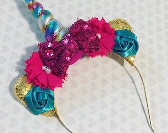 Rainbow Unicorn Headband | Unicorn Horn | Unicorn Party | Rainbow Horn | Sequin Bow | Birthday Girl | Unicorn Party Favor | Unicorn Headband