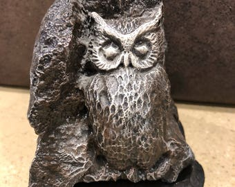 Vintage Stonecrafted Owl Scuplture and Signed by the artist Jack Ronald Cotner