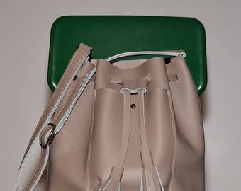 Abbie Leather Bucket Bag with Tassels- drawstring purse - Leather Crossbody