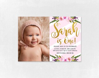 Baby Girl Birthday Invitation -She is One- Pink Birthday Invitation - Printable  Birthday Invitation - Pink and Gold Invitation - Baby Girl