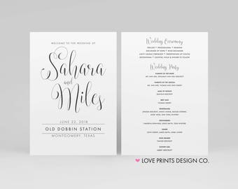 Wedding Programs, Wedding Program Template, Printable Wedding Program, Double Sided Wedding Program, PDF File