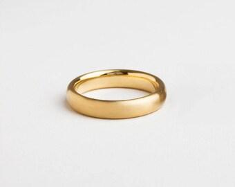 Minimal Mens Ring, Minimal Wedding Ring, Wide Ring 14k 18k Yellow Gold, Wedding Band, Simple Wedding Band Comfort Fit Minimal Band Satin