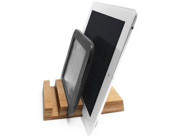 Multiple Oak Wood Charging Station - Holds up to 3 devices
