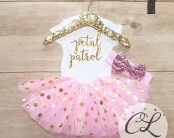 Petal Patrol Tutu Outfit / Baby Girl Clothes Flower Girl Outfit Flower Girl Gift Tutu Set Wedding Day Girl Outfit Baby Tutu Bow Shirt 185