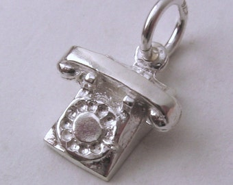 Genuine SOLID 925 STERLING SILVER Vintage Telephone charm/pendant