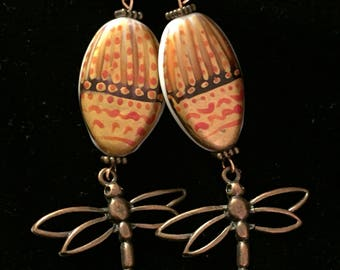 Copper Dragonfly Beaded Earrings Handcrafted Great Gift!