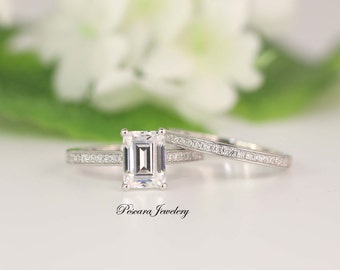 Wedding Ring Set, Bridal Ring Set, Emerald Ring, Emerald Cut Ring, Emerald Cut CZ Diamond Simulant Emerald Solitaire Ring Emerald Ring