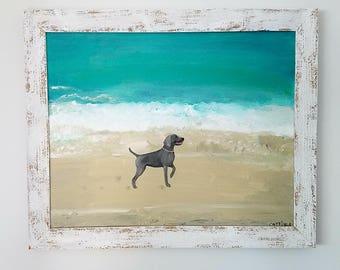 Framed 16 x 20 Original Weimaraner painting, wall art, gift for dog lover, wall decor original ocean scene