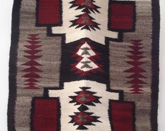Vintage Native American Navajo Saddle Blanket Storm Pattern
