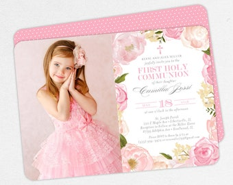 First Communion Invitation, First Holy Communion Invitation, Photo Communion Invitation, DIY Invite, PDF Invitation, Floral, Pink, Camilla