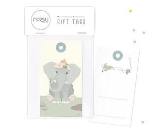 Gift tags - Elephant   10 pcs - 5 x 9 cm / 19.7 x 27.5 inches