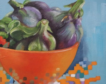 Small original oil painting, still life, food painting, artichoke
