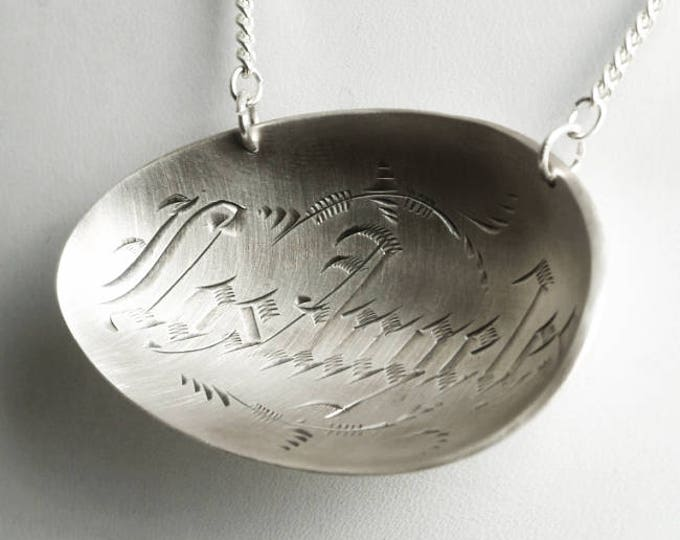 Vintage Los Angeles Pendant, Sterling Silver Spoon Necklace, City of Angles, Los Angeles Pride, LA Necklace, California Gift for Her (P6825)