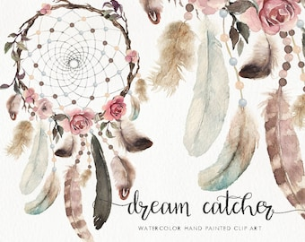 Watercolor Dream Catcher - boho feather & flower. Wedding, bohemian, clip art, vintage, collection, individual PNG, hand painted, rustic
