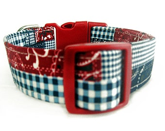 Red White Blue Dog Collar, Americana Patchwork Plaid Dog Collar, Patriotic Plaid Dog Collar, 4th of July Dog Collar, Memorial Day Dog Collar