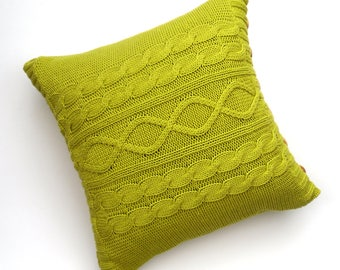 Lime Green cotton cable cushion cover , square pillow cover recycled from cotton sweater , vibrant home decor , stylish & unique , knit gift