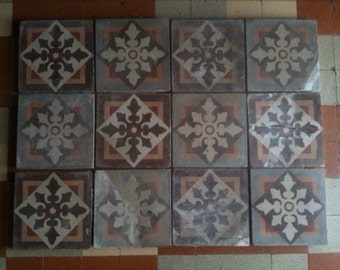 Antique French heavy thick flooring fireplace tiles sold separately circa 1900's / English Shop