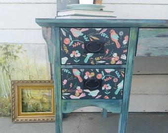 "Beautiful hand painted boho style desk ""Starling"""