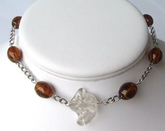 Sterling silver and glass necklace