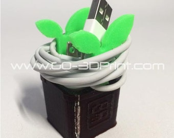 3D Printed Planter Leaf Charging Cable Holder Organizer for Apple iPhone iPad iPod