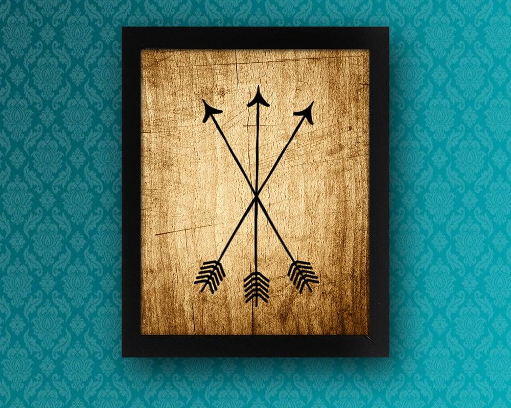 3 Tribal Arrows On Wood Photo Background PRINTABLE Wall Art