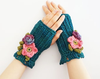 Wild Rose Rose Arm Warmers in Teal Blue& Pink READY to SHIP as shown, other colours available on my other listings, floral hand warmers,