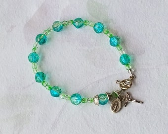 Rosary Bracelet Crucifix Miraculous Medal Charm Bracelet Handmade Turquoise and Green Glass Gifts For Her Catholic Jewelry Catholic Gift