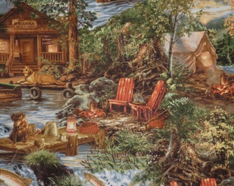 Fabulous Fishing and Hunting Cabin Scenic Print Pure Cotton Fabric--By the Yard